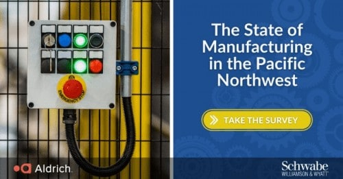 """image of manufacturing factory equipment juxtaposed with the words """"The State of the Manufacturing Industry in the Pacific Northwest"""""""